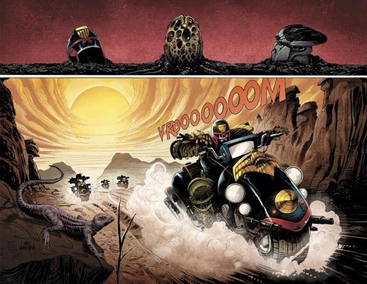 Primo sguardo al crossover Predator vs Judge Dredd vs Aliens
