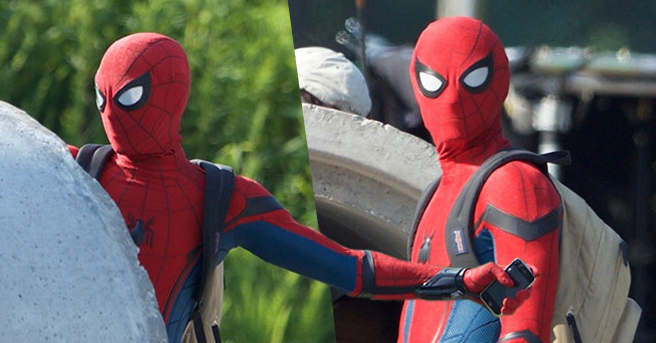 Prime immagini di Tom Holland con il costume da Spider-Man: Homecoming