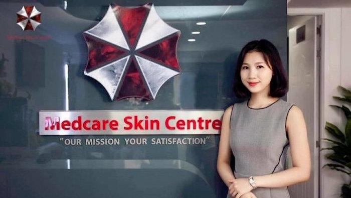 Una clinica di bellezza vietnamita utilizza il logo della Umbrella Corporation!
