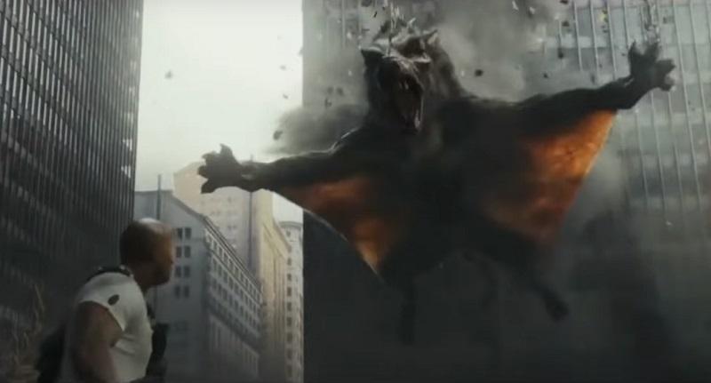 Distruzione e lupi giganti che volano nel secondo trailer di Rampage – Furia animale