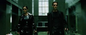 Keanu Reeves and Carrie-Anne Moss in The Matrix (1999)