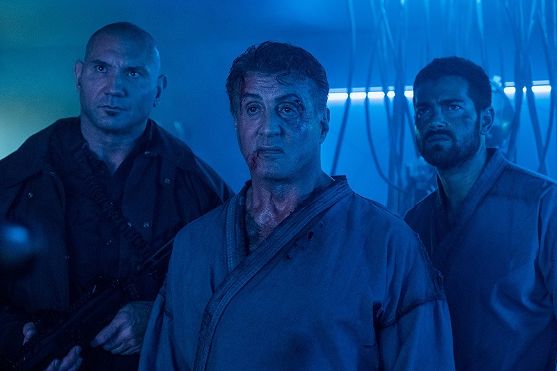 Sylvester Stallone, Jesse Metcalfe, and Dave Bautista in Escape Plan 2
