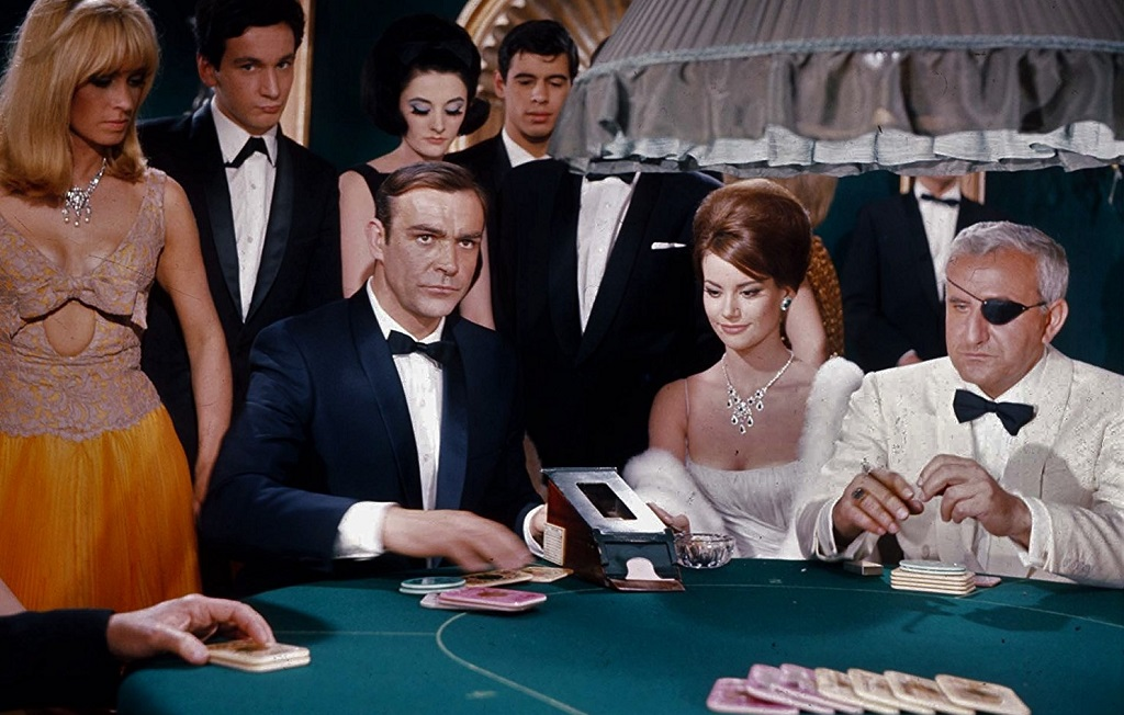 Sean Connery, Claudine Auger, Adolfo Celi, and Suzy Kendall in Thunderball (1965)