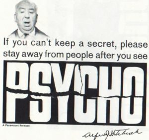 psyco alfred hitchcock spoiler poster