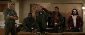 Thomas Jane, Alfie Allen, Keegan-Michael Key, Boyd Holbrook, Augusto Aguilera, and Trevante Rhodes in The Predator (2018)