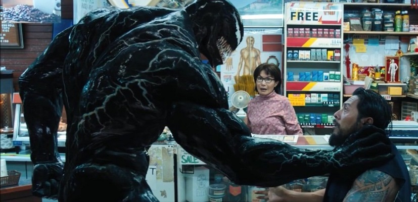 Tom Hardy, Peggy Lu, and Sam Medina in Venom (2018)