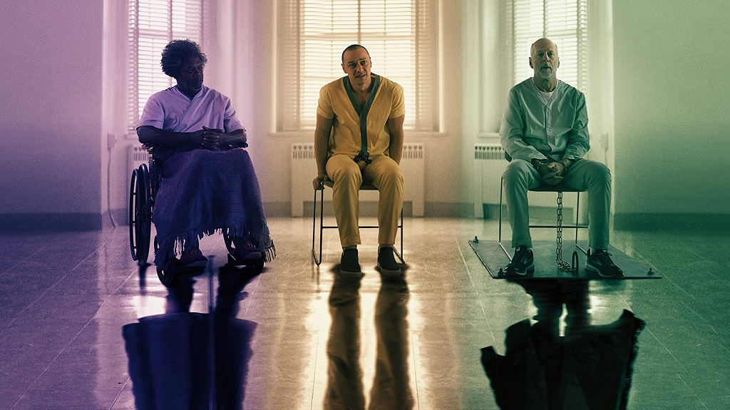 Samuel L. Jackson, Bruce Willis, e James McAvoy in Glass (2019)