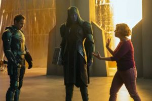 Jude Law, Lee Pace e Anna Boden in Captain Marvel (2019) set
