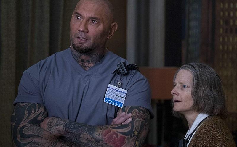 Jodie Foster e Dave Bautista in Hotel Artemis (2018)