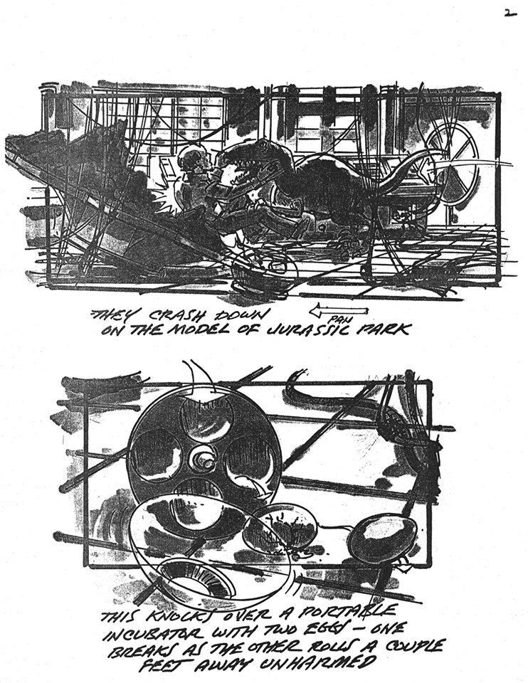 jurassic park morte john hammond storyboard 1993