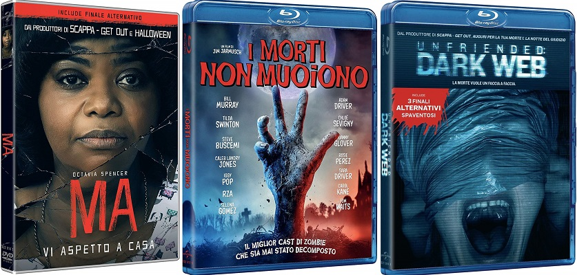 home video I morti non muoiono (BD), MA (DVD), Unfriended Dark Web (BD)