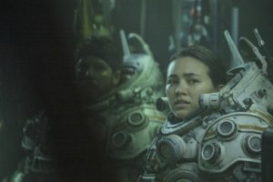 John Gallagher Jr. and Jessica Henwick in Underwater (2020) film