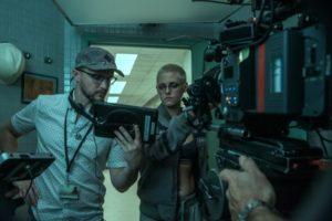 Kristen Stewart and William Eubank in Underwater (2020) film set