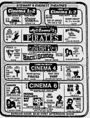 programmazione cinema USA 1986