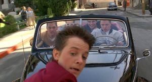 Michael J. Fox, Billy Zane, Thomas F. Wilson, J.J. Cohen e Casey Siemaszko ritorno al futuro 1985